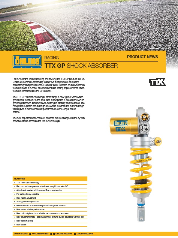 Ohlins New TTx GP shock updates 2018