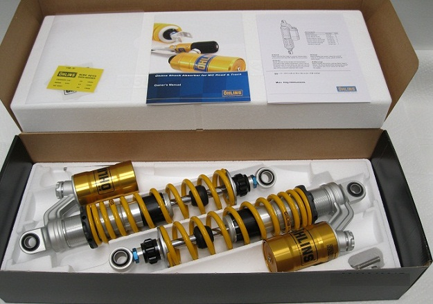 Ohlins Vintage Twin MX Shocks -Twin-Shocks 360+10 x 92.5 with etra 8mm int spacershas cyl hd 124-15 14x26x20 bot are 124-23 16x26